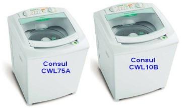 modelos lavadoras consul CWL75A CWL10B thumb Desmontagem e Testes das Lavadoras Consul CWL75A e CWL10B